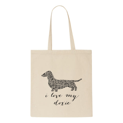Doxie Floral Tote Bag