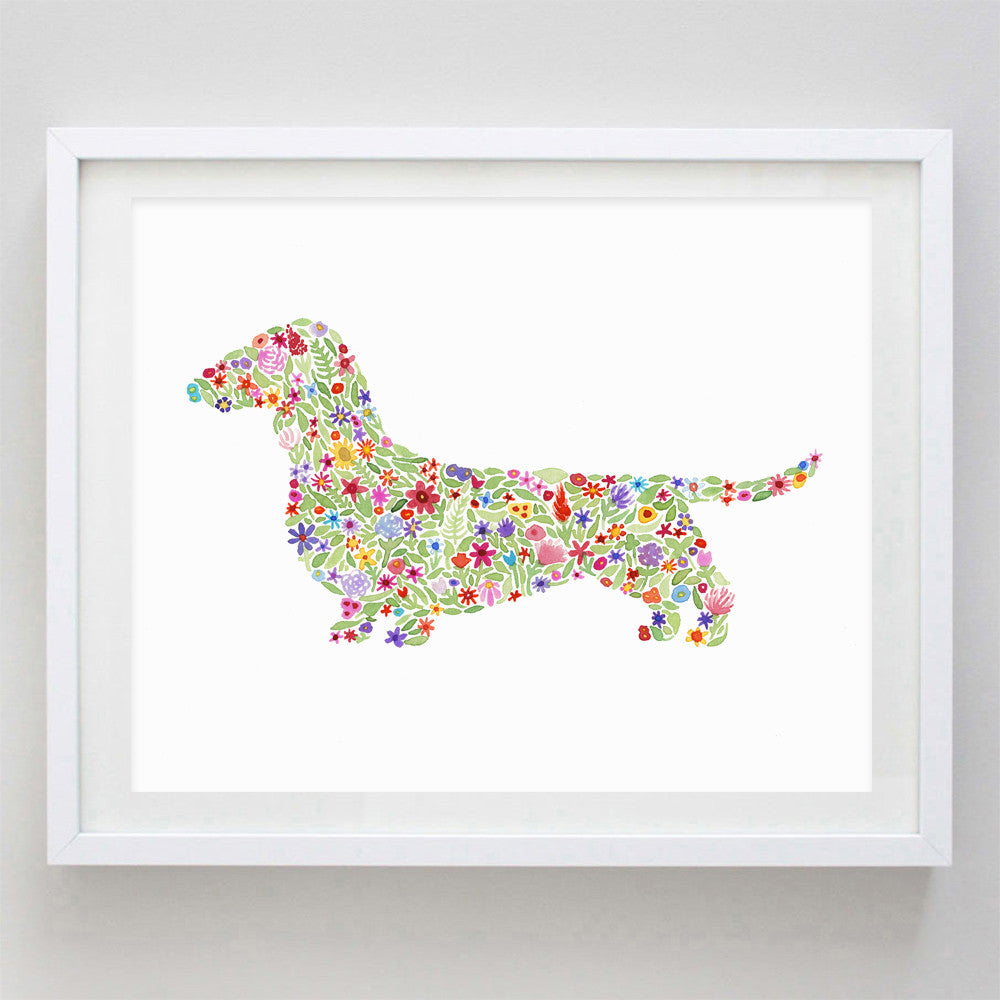 art print - doxie floral watercolor print - carly rae studio