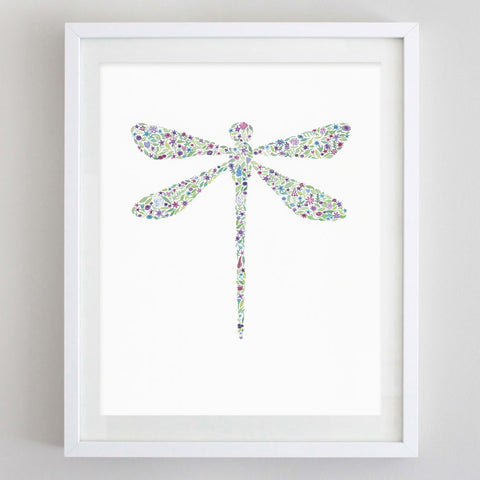 art print - dragonfly floral watercolor print - carly rae studio