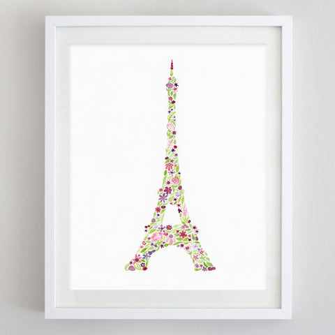 art print - eiffel tower floral watercolor print - carly rae studio