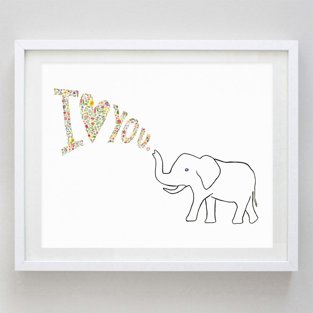 art print - elephant i love you floral watercolor print - carly rae studio