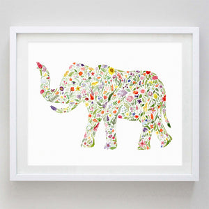 art print - elephant floral watercolor print - carly rae studio