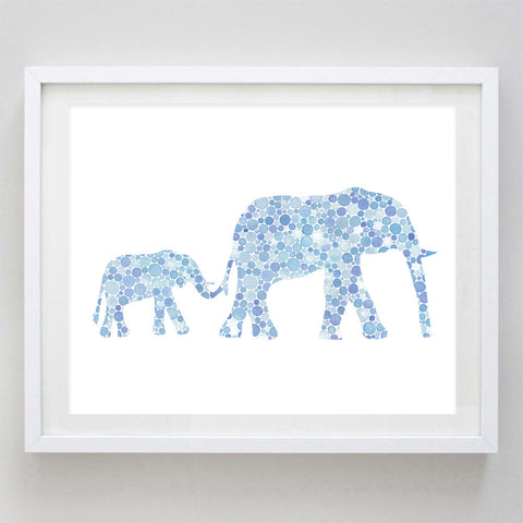 art print - mama and baby elephant in blue watercolor print - carly rae studio