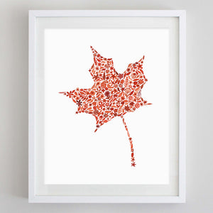 Fall Leaves Floral Watercolor Print