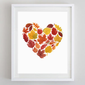Fall Leaves Heart Watercolor Print