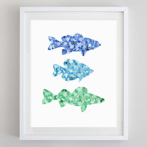 Fish Blue Green Lake House Watercolor Print