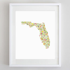 ANY State Floral Watercolor Print (Alabama-Missouri)