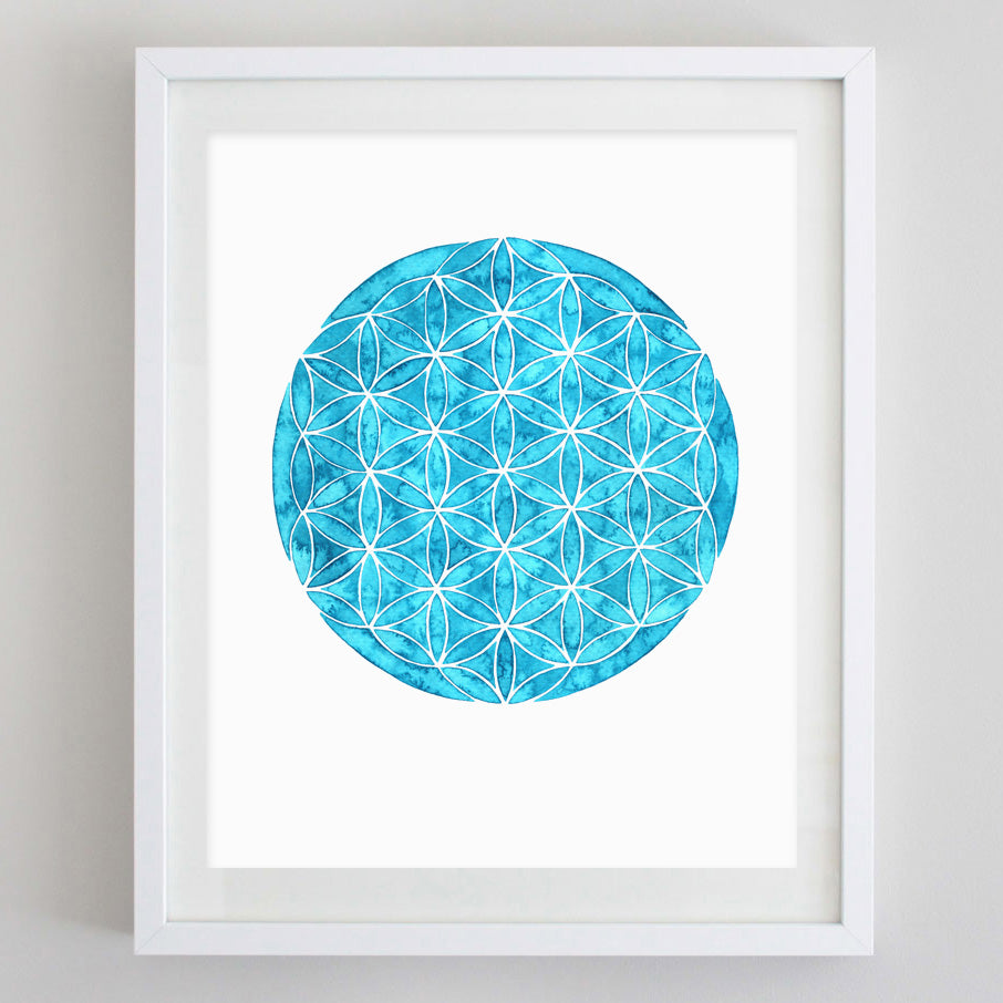 Flower of Life Watercolor Print