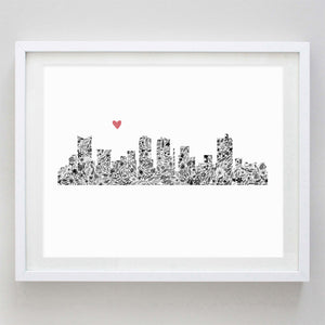 Fort Worth Skyline Watercolor Print