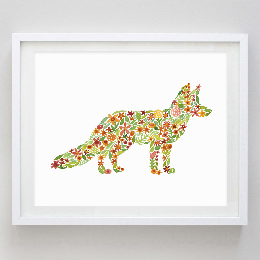 Fox Floral Watercolor Print