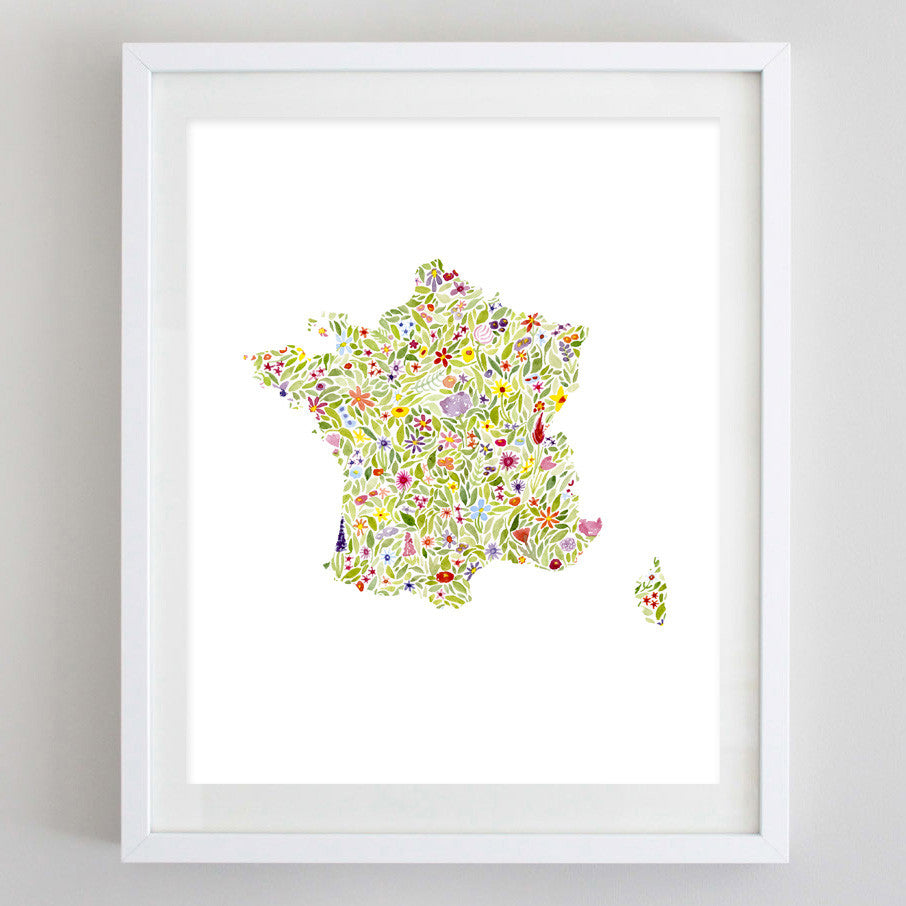 France Floral Watercolor Print