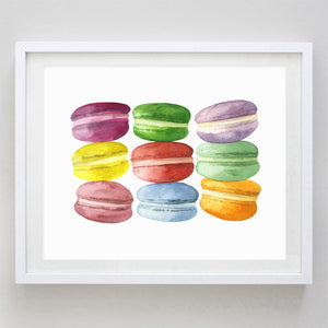 French Macaron Watercolor Print