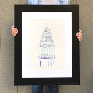 Matted and Framed Watercolor Print - Local Kansas City Delivery - 13x19""