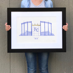 "3 13x19"" Matted and Framed Watercolor Prints - Local Kansas City Delivery"