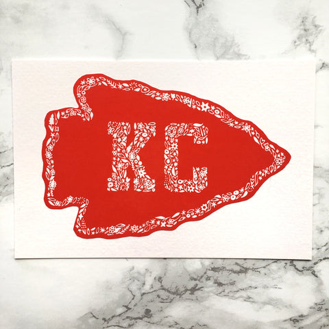 Kansas City Arrowhead Floral Decal