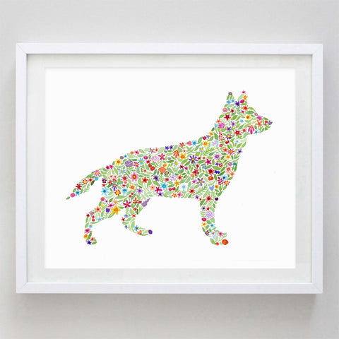 German Shepard Floral Watercolor Print