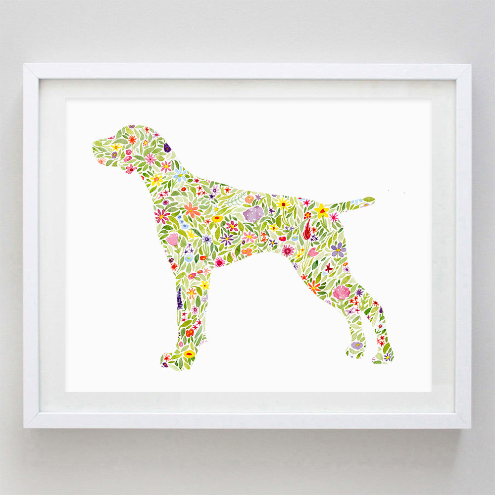 German Shorthaired Pointer Floral Watercolor Print