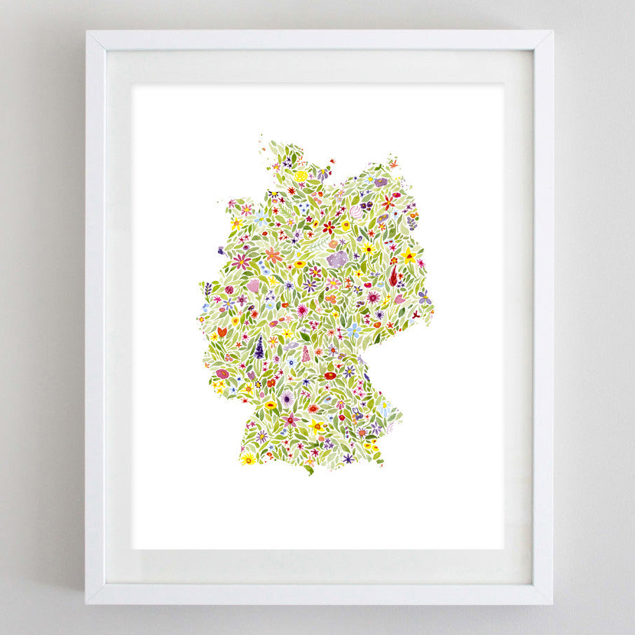 Germany Floral Watercolor Print