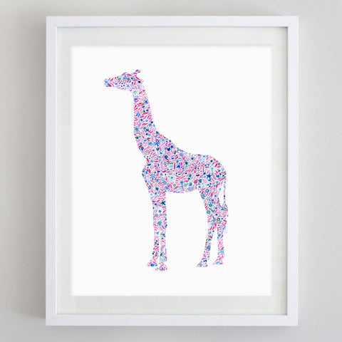 Giraffe Floral Watercolor Art Print - Alpha Epsilon Phi