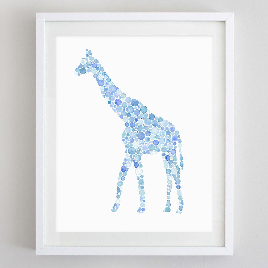art print - blue giraffe watercolor print - carly rae studio