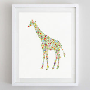 art print - giraffe floral watercolor print - carly rae studio