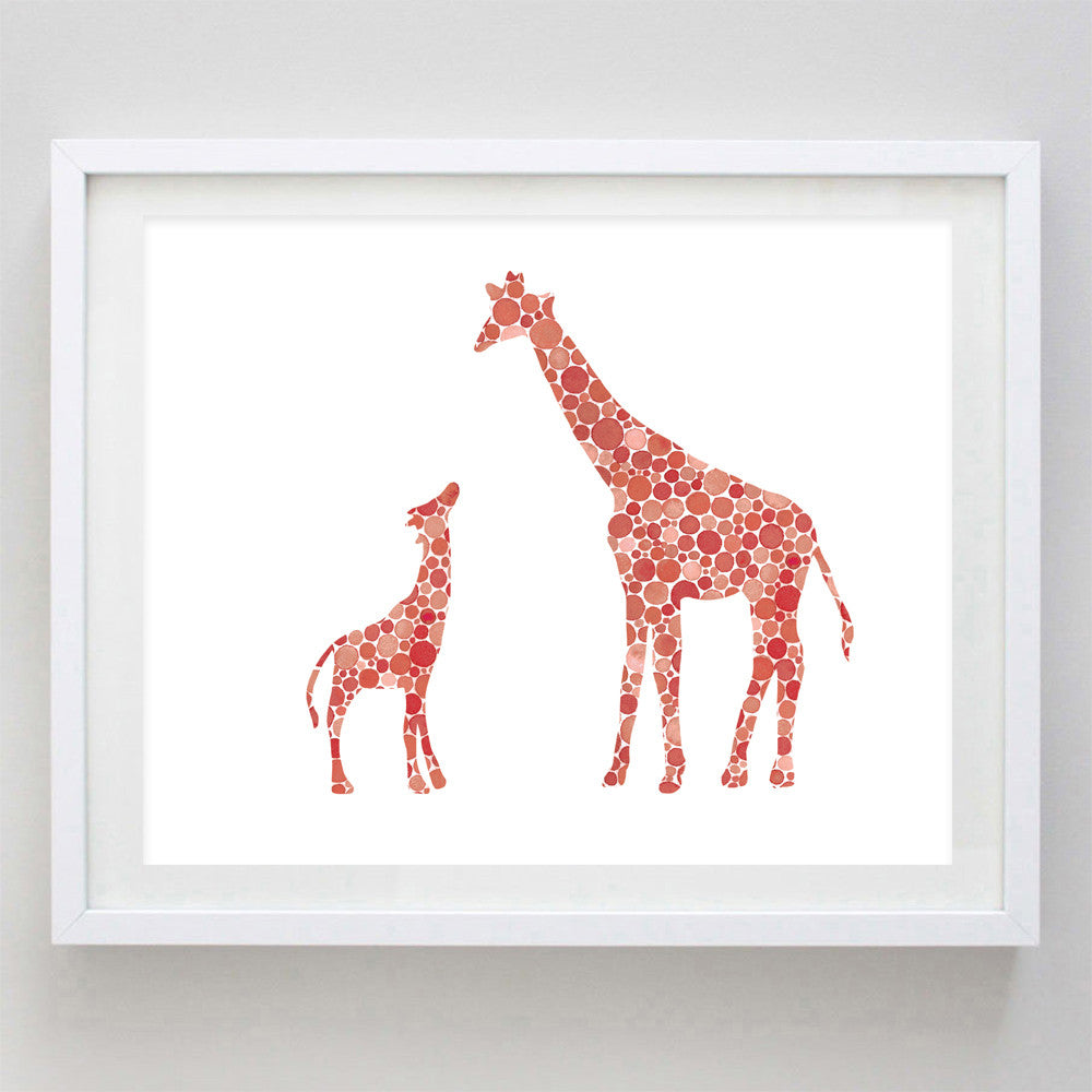 art print - mama and baby giraffe red watercolor print - carly rae studio