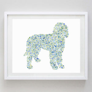 Golden Doodle Floral Watercolor Print