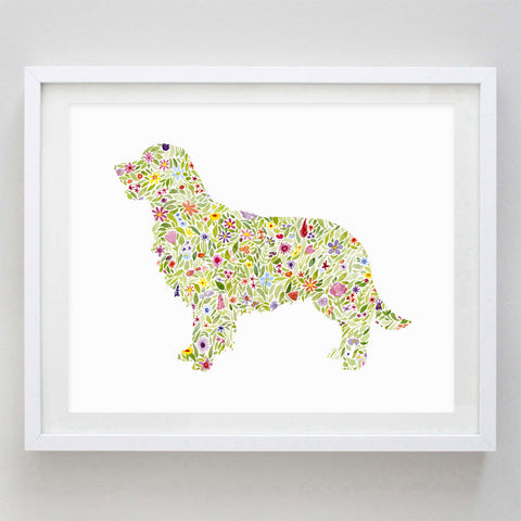 art print - golden retriever floral watercolor print - carly rae studio