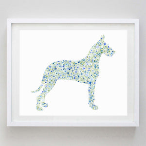 Great Dane Floral Watercolor Print