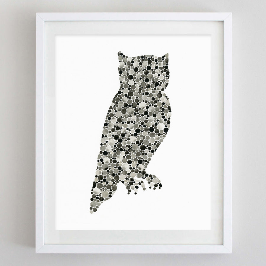 art print - owl black watercolor print - carly rae studio