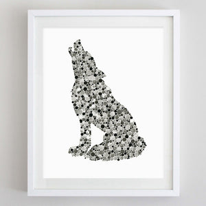 art print - wolf black watercolor print - carly rae studio