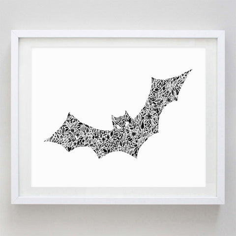 art print - halloween bat floral watercolor print - carly rae studio