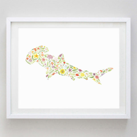 art print - hammerhead floral watercolor print - carly rae studio