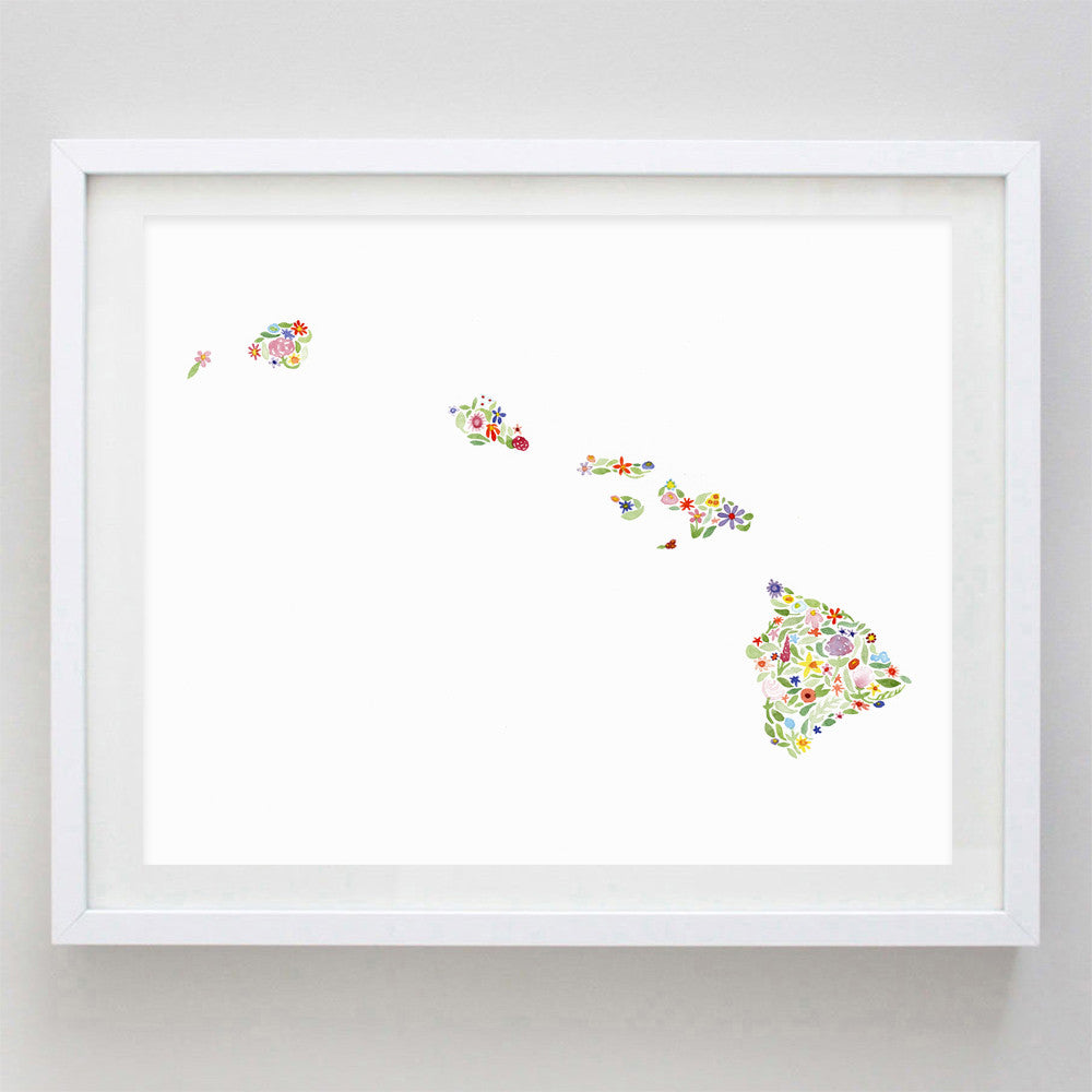 art print - hawaii floral watercolor print - carly rae studio