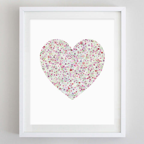 art print - heart floral watercolor print - carly rae studio