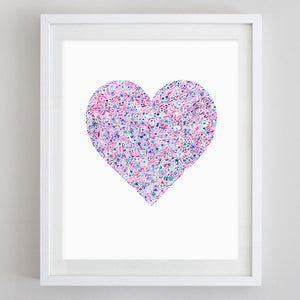 Heart Floral Watercolor Art Print - Sigma Kappa