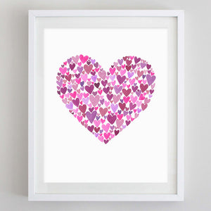 Hearts Watercolor Print