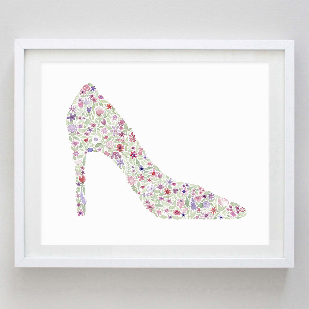art print - high heel floral watercolor print - carly rae studio