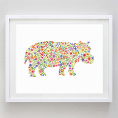 Hippo Watercolor Print