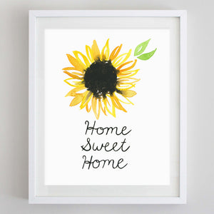 Home Sweet Home Sunflower Watercolor Print