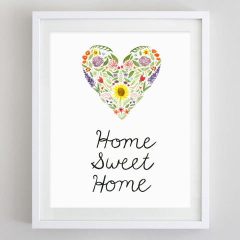 art print - home sweet home floral watercolor print - carly rae studio