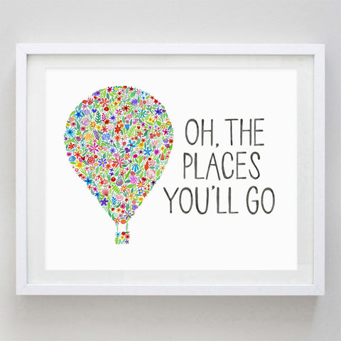 art print - oh the places you'll go floral watercolor print - carly rae studio