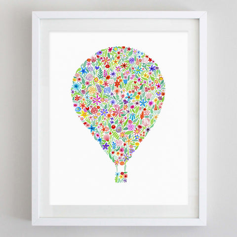 art print - hot air balloon floral watercolor print - carly rae studio
