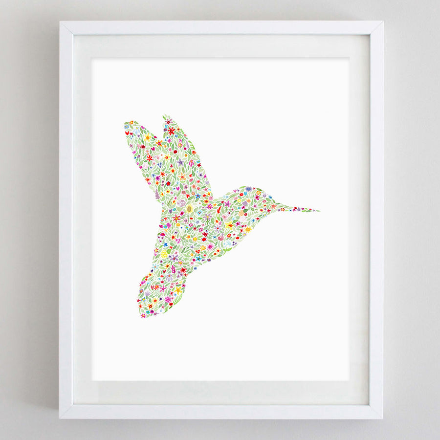 art print - hummingbird floral watercolor print - carly rae studio