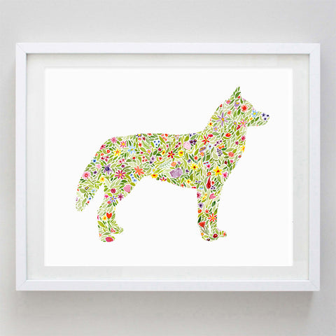 Husky Floral Watercolor Print