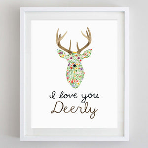 art print - i love you deerly floral watercolor print - carly rae studio