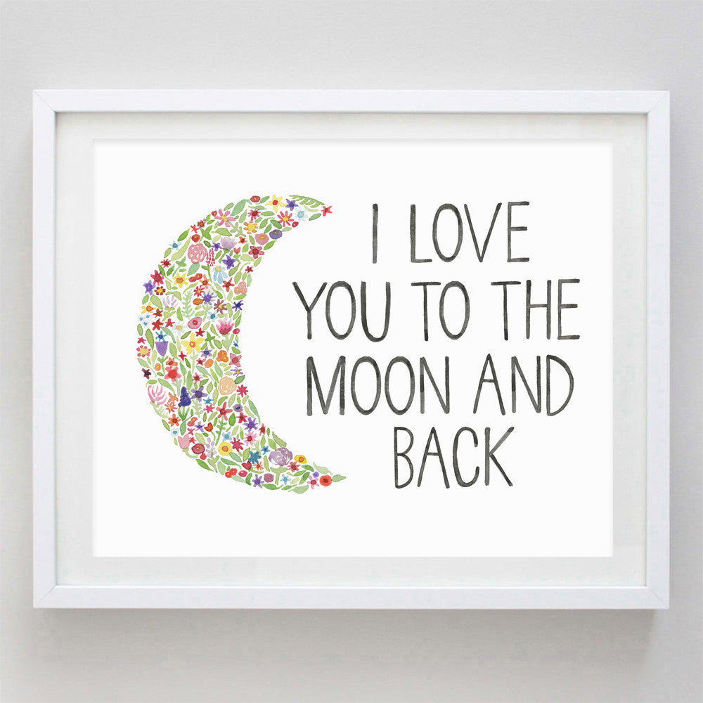 art print - i love you to the moon and back floral watercolor print - carly rae studio