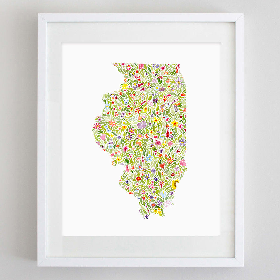 art print - illinois floral watercolor print - carly rae studio