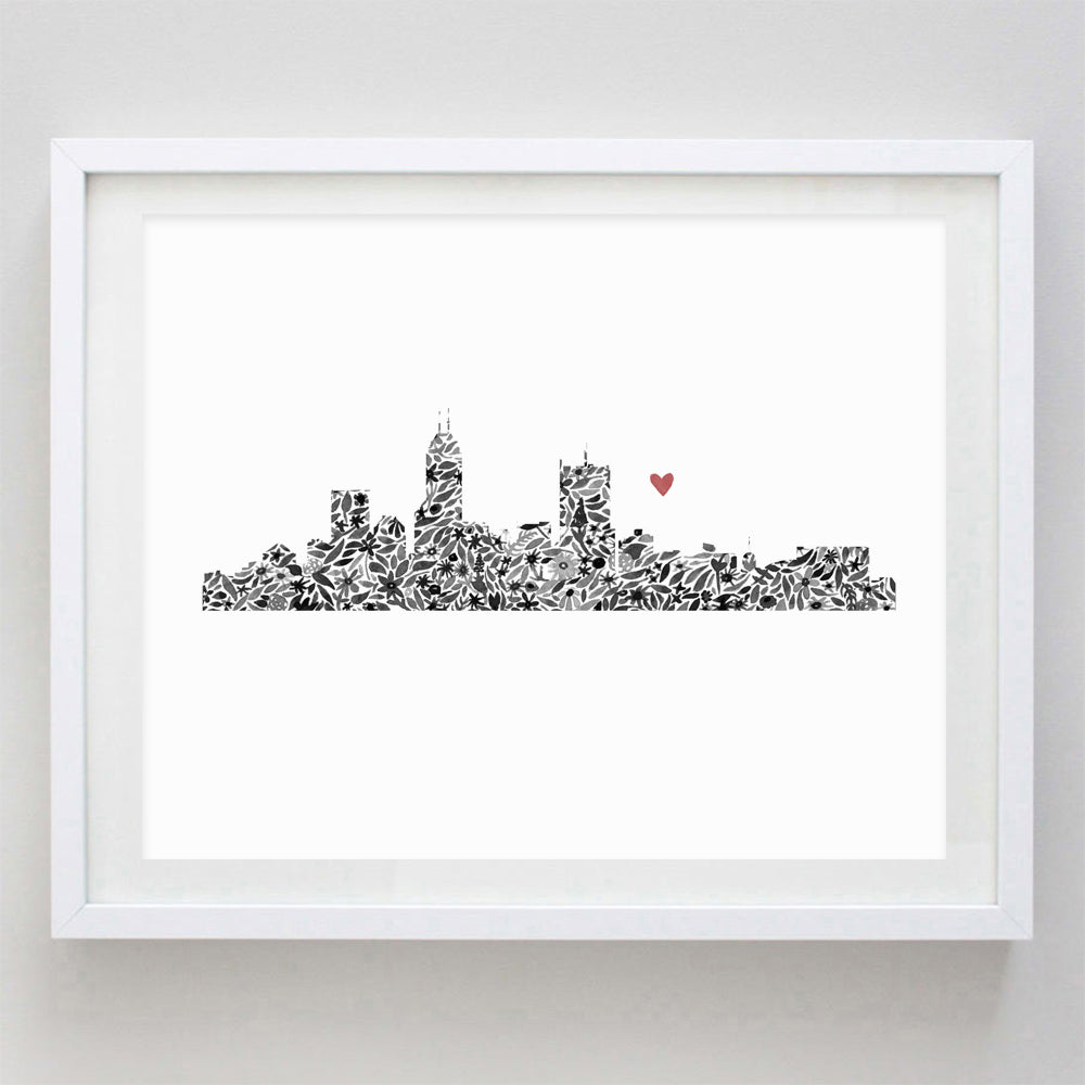 Indianapolis Skyline Floral Watercolor Print