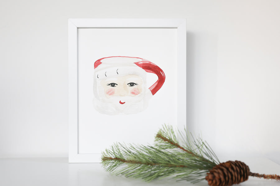 Vintage Santa Mug Watercolor Print
